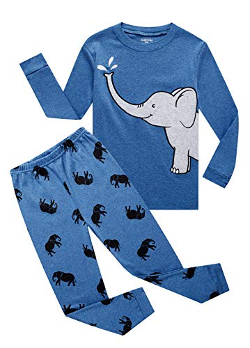 Family Feeling Elephant Big Boys Long Sleeve Pajamas 100% Cotton Pjs Kids Sleepwears Size -
