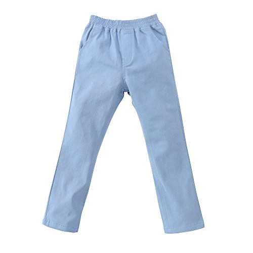 [ARRIBADA Girls' Cotton Elastic Waist Pull-On Straight Leg Twill Skinny Cargo Pants] (Stretch Twill Straight Leg Cropped Pants)