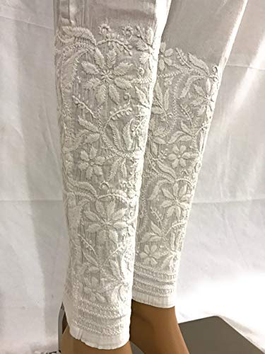- Lucknow Chikankari stretchable cotton ankle length leggings,narrow pants/Stretchable Hand embroidered leggings/LENGTH: 37 Inches/One size fits most (White)
