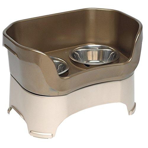 MD Group Pet Bowl Dog Feeder Bin-style Plastic & Metal Feeding Bowl Portable Pet Supplies