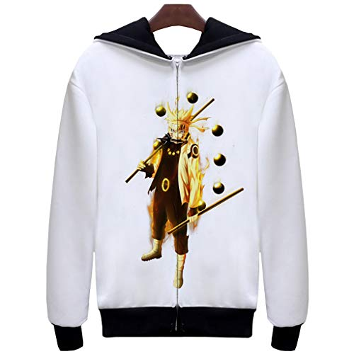 FunStation Top for Naruto Cosplay Costume Pullover Sweatshirt Hoodie Jacket with Zipper 06 L (Naruto Orochimaru Cosplay Wig)