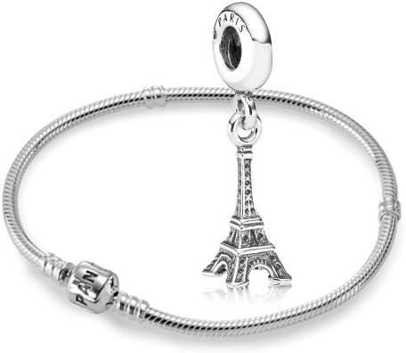 Original Pandora kit/genético 925er Plata esterlina - 1 pulsera de plata - Longitud 18 cm - Art. No 590702HV -18 y 1 plata péndulo Torre Eiffel - Art. No 791082