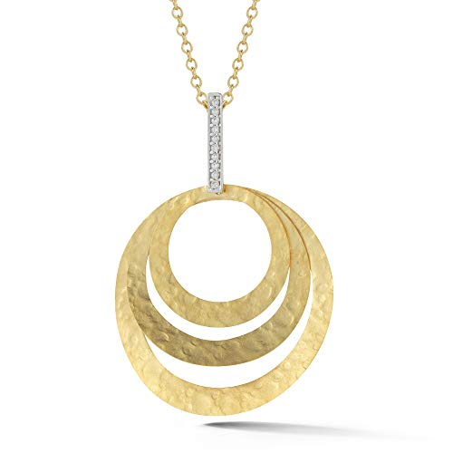 I REISS 14K Yellow Gold 0.06ct TDW Diamond Accent Concentric Circle Pendant Necklace ()