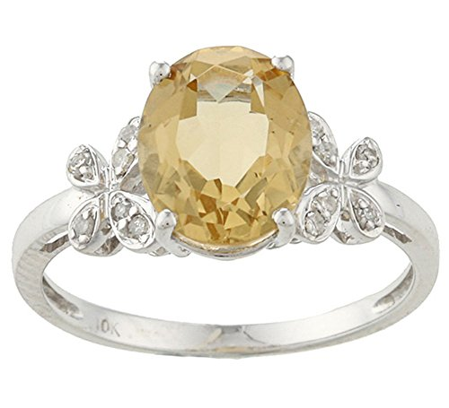 10k Rhodium-Plated White Gold Oval Citrine and Flower-Accent Diamond Ring