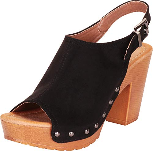 Cambridge Select Women's Retro 70s Open Toe Studded Clog Chunky Platform Block Heel Sandal (10 B(M) US, Black IMSU)