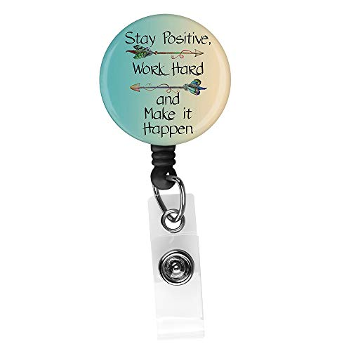 Inspirational Quote Retractable ID Card Badge Holder with Alligator Clip, Name Nurse Decorative Badge Reel Clip on Card Holders (Quote Badge Holder)