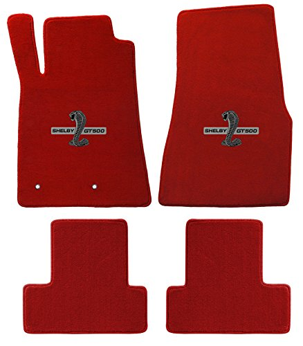 (2005-2010 Mustang & Shelby Red Floor Mats with Cobra GT500 Logo )
