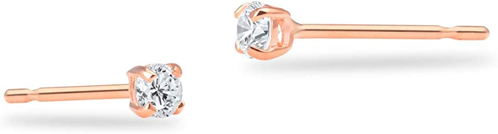 SOLIDGOLD - Real 14K Gold Round Clear CZ Stud Earrings   0.030-4.00 CTW   Yellow, Rose & White Gold