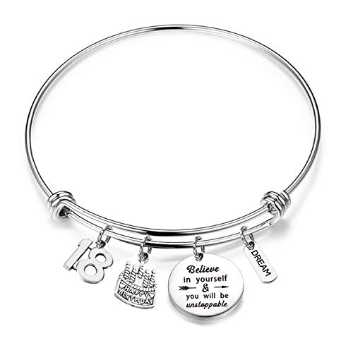 FUSTYLE Birthday Bracelet 12th 13th 16th 18th Birthday Jewelry Gift Inspirational Bracelet Happy Birthday Gift for Daughter Best Friend (18th)