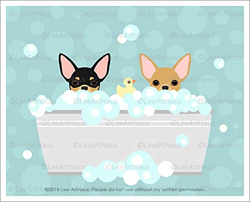 (693D - Two Chihuahua Dogs in Bubble Bath Bathtub UNFRAMED Wall Art Print by Lee ArtHaus)