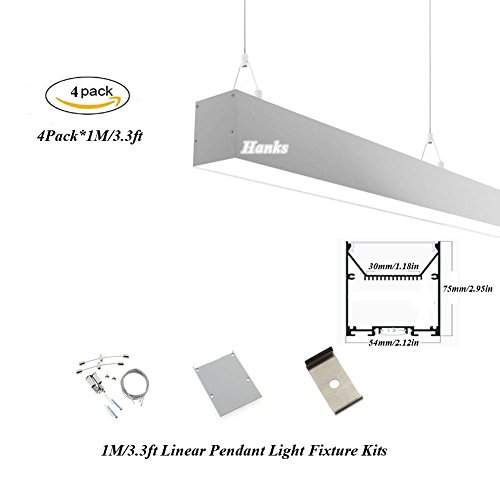 Hanks 4Pack 1M/3.3ft 54x75mm Linear Pendant Light Profile Fixture With Suspension Wires for Home and Office (4x1m Milk) by Hanks
