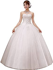 obqoo 2017 Gorgeous Sweetheart Beaded Lace Appliqued Ball Gown Wedding Dress Ivory Pure White