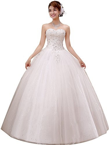 (obqoo 2019 Gorgeous Sweetheart Beaded Lace Appliqued Ball Gown Wedding Dress Ivory Pure White)