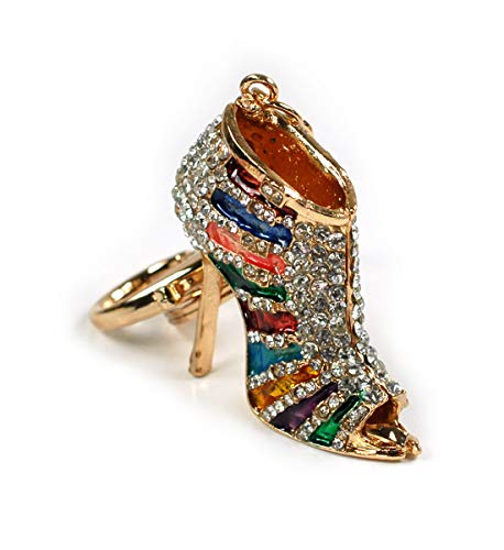 Fashion High Heel Sandal Shoe Lady's Pumps Keychain Crystal Handbag Key Charm Car Ring (Rainbow Stripe Sandal)