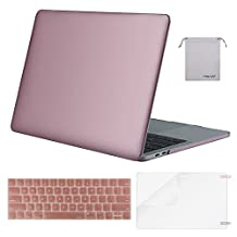 Mosiso Plastic Hard Case with Keyboard Cover with Screen Protector with Storage Bag for Newest Macbook Pro 15 Inch (A1707, 2017 & 2016 Release), Rose Gold