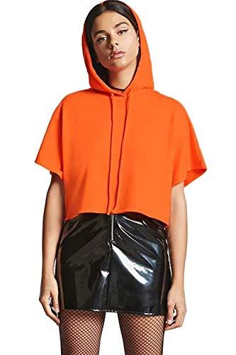 Moyenne Bleu cordon clair à shirt shirt Zhrui T T Loose Orange couleur Manches Taille Femme à Casual Courtes qvFvaPwO
