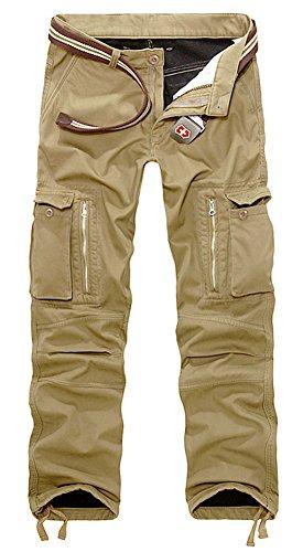 AIZESI Men's Thicken Winter Polar Fleece Multi Pocket Trousers Cargo Camo Combat (Polar Fleece Pants)