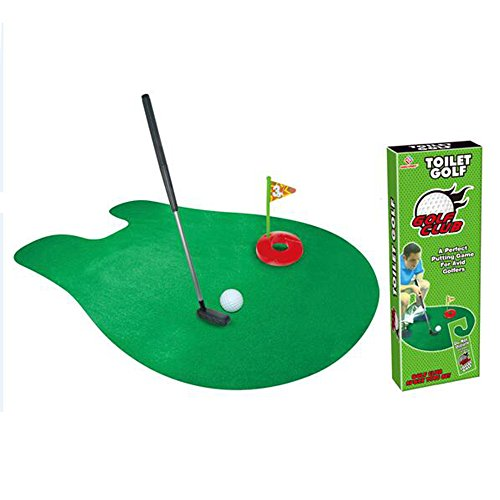 HMX Mini Toilet Golf Set – Putter Practice Bathroom Toy Toilet Time Golf Game with this Potty Putter