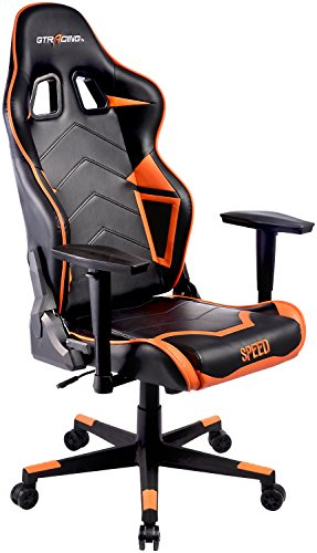 GTracing Ergonomic Office Chair Racing Chair Backrest and Seat Height Adjustment Computer Chair With Pillows Recliner Swivel Rocker Tilt E-sports Chair (ORANGE)