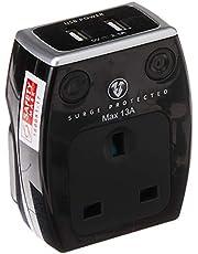 Masterplug SRGAUSBPB2-MPA High Gloss USB Surge Adaptor, Black, Piano Black