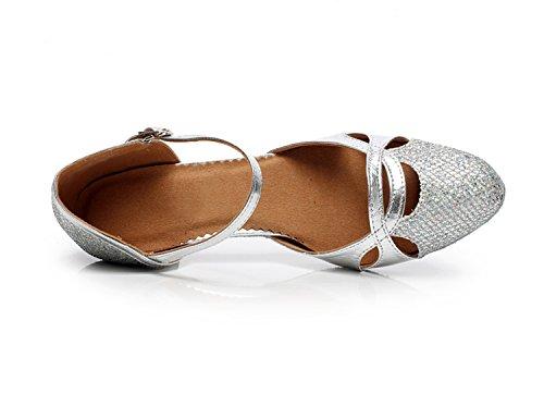 Minitoo QJ707 Damen Mary Jane Glitter Sparkle Modern Salsa Tango Ballroom Latein Tanzschuhe Silber