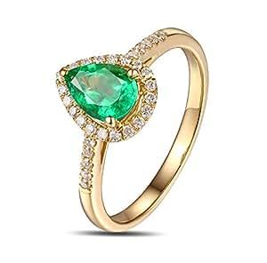 Epinki 18k Oro Anillos para Mujer Gotas Lágrima Anillo de Diamante Anillos Mujer Oro con Blanco Verde Diamante Esmeralda Talla 8