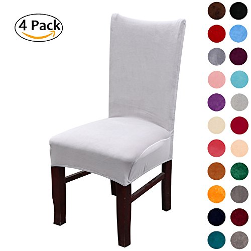 Colorxy Velvet Spandex Fabric Stretch Dining Room Chair Slipcovers Home Decor Set of 4, Light Gray