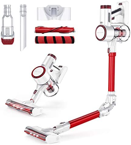 HONITURE H8 Cordless Vacuum Cleaner 4 in 1, 350W / 25KPa Powerful Lightweight, Removable Battery, LED Brush, HEPA Filters (RED)