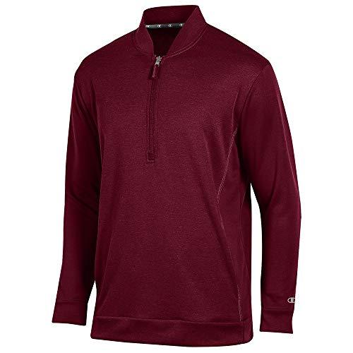 Champion Men's (Maroon) Cool Down Coaches Collar 1/4 Zip Performance Jacket