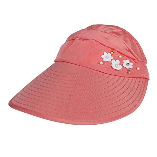 2018 Summer Womens Solid Hip-Hop Baseball Cap Low Profile Outdoor Beach Sunscreen Cap UV Protection Caps Sun Visor Hat (Watermelon)