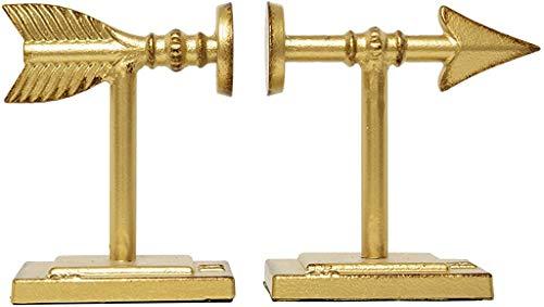 sujeta libros de metal decoracion estilo flecha dorado