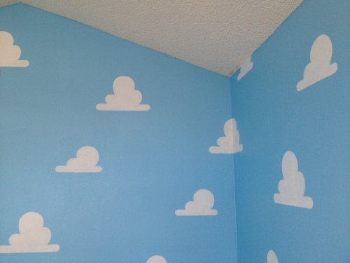 Cloud Stencil Set for Wall Decor: Reusable Stencils for a Kid's Toy Story Room or Andy's Room Nursery, 2-Pack Includes 1 Large and 1 Small Cloud Stencil by Living Lullaby Designs (Image #1)