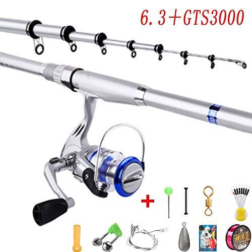VWBQ Telescopic Fishing Rod Reel Combos, Spinning Rod Reel Combo, Carbon Fiber Fishing Pole Reel, with Fishing Accessories for Sea/Lake/Adult(6.3 M / 20.6 Ft + GTS3000 Reel)