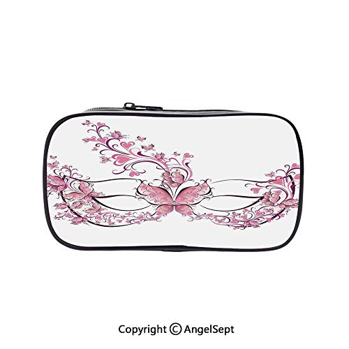 Pencil Holder with Handle Strap Handy Colored,Masks Carnival Dress Centuries Old Tradition of Venice Theme Design Print Pink and White 5.1inches,Large Capacity Students Stationery