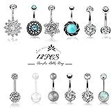 Besteel 12 Pcs 14G Stainless Steel Dangle Belly Button Rings for Women Girls Navel Rings CZ Body Piercing (D:12 Pcs a Set)