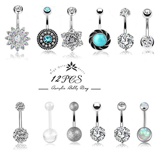 Besteel 12 Pcs 14G Stainless Steel Dangle Belly Button Rings for Women Girls Navel Rings CZ Body Piercing (D:12 Pcs a Set)