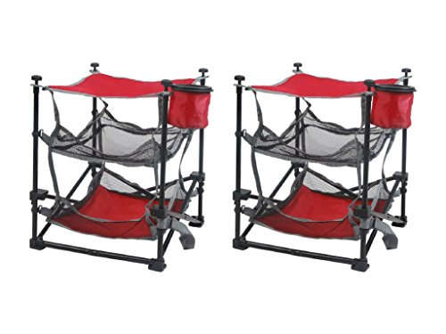 Ozark Trail Folding End Table Durable Steel Frame with Removable Swivel Cup Holder set of two (2) by Ozark Trail