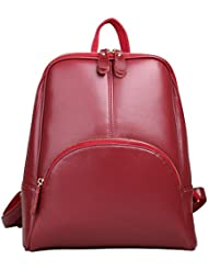 ELIM&PAUL Leather Backpack Vintage Causal Daypack for women
