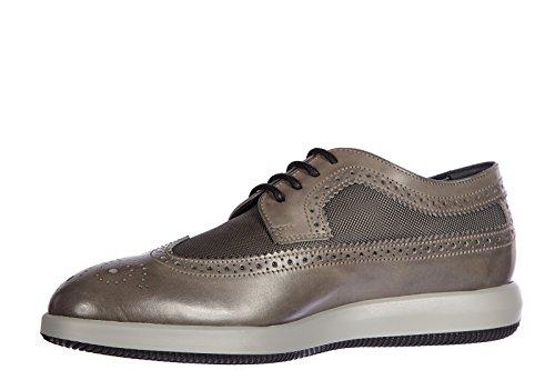 Hogan chaussures à lacets classiques homme en cuir h209 derby vintage gris