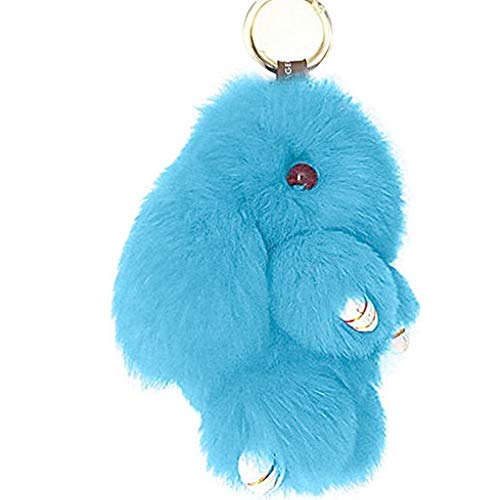 Prince2018 Bunny Keychain Soft Cute Rex Genuine Rabbit Fur Keychain Car Handbag Keyring (Light blue)]()