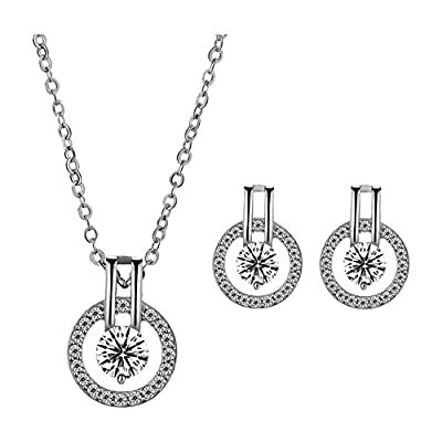 """18k Platinum or Rose Gold Plated Austrian Crystal Circle Necklace Pendant with 18"""" Chain"""