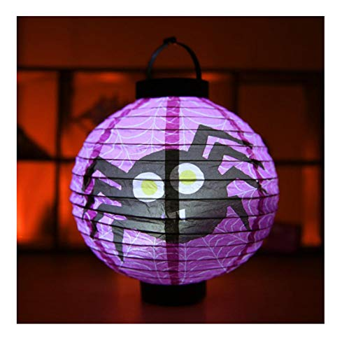Halloween Props LED Paper Light Hanging Lantern Lamp for Outdoor Party Supplies Purple spider1a -