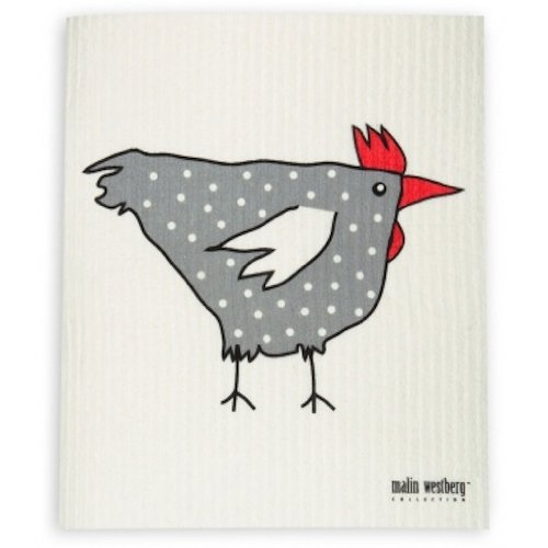 Set of 4 Grey with Chickens Trendy Tripper Swedish Dishcloth, BB Hens +