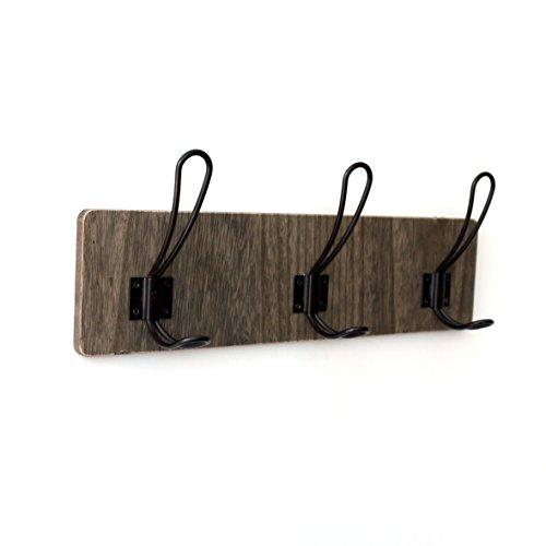 (CVHOMEDECO. Vintage Distressed Entryway Wooden Hook Wall Mount or Door Hanger Clothes Coat Hooks Towel Hat Scarf Bags Rack with Triple Metal Iron Hooks. Black Walnut Color, 15-3/4