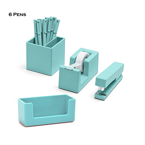 Poppin 10 Piece Set Fresh Start Desk Collection (Aqua)