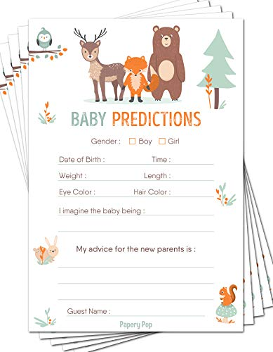 Baby Predictions and Advice Cards (Pack of 50) - Baby Shower Games Ideas for Boy or Girl - Gender Neutral - Party Activities Supplies - Woodland -