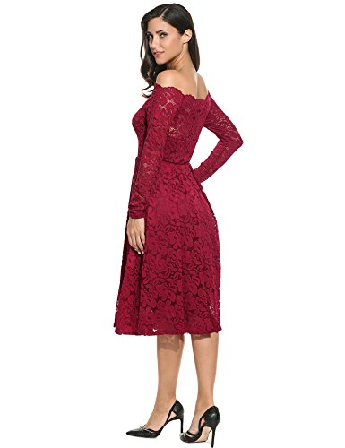 Meaneor Women Plus Sizes Long Sleeve Hollow Floral Lace Maxi Short Dress (S, wine red)