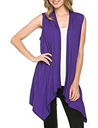 Women's Solid Color Sleeveless Asymetric Hem Open Front...