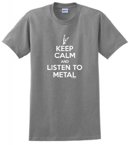 ThisWear Keep Calm and Listen to Metal T-Shirt XL Sport Grey