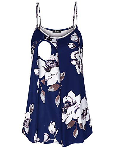 Quinee Maternity Tops and Blouses, Womens Sleeveless Spaghetti Strap Nursing Clothes Work Casual Pregnancy Tank Top Functional Layers Comfortable Breastfeeding Shirts Blue Floral S